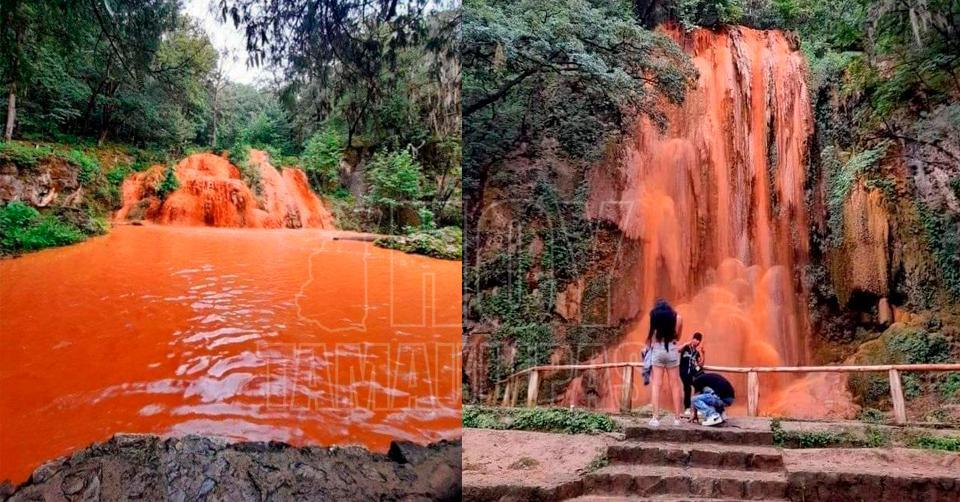Hoy Tamaulipas - Nacional Se tien de rojo cascadas de El Salto en Nuevo Len